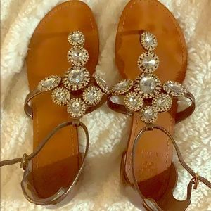 Bronze leather jeweled sandal